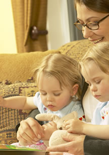 Motherly activities with children