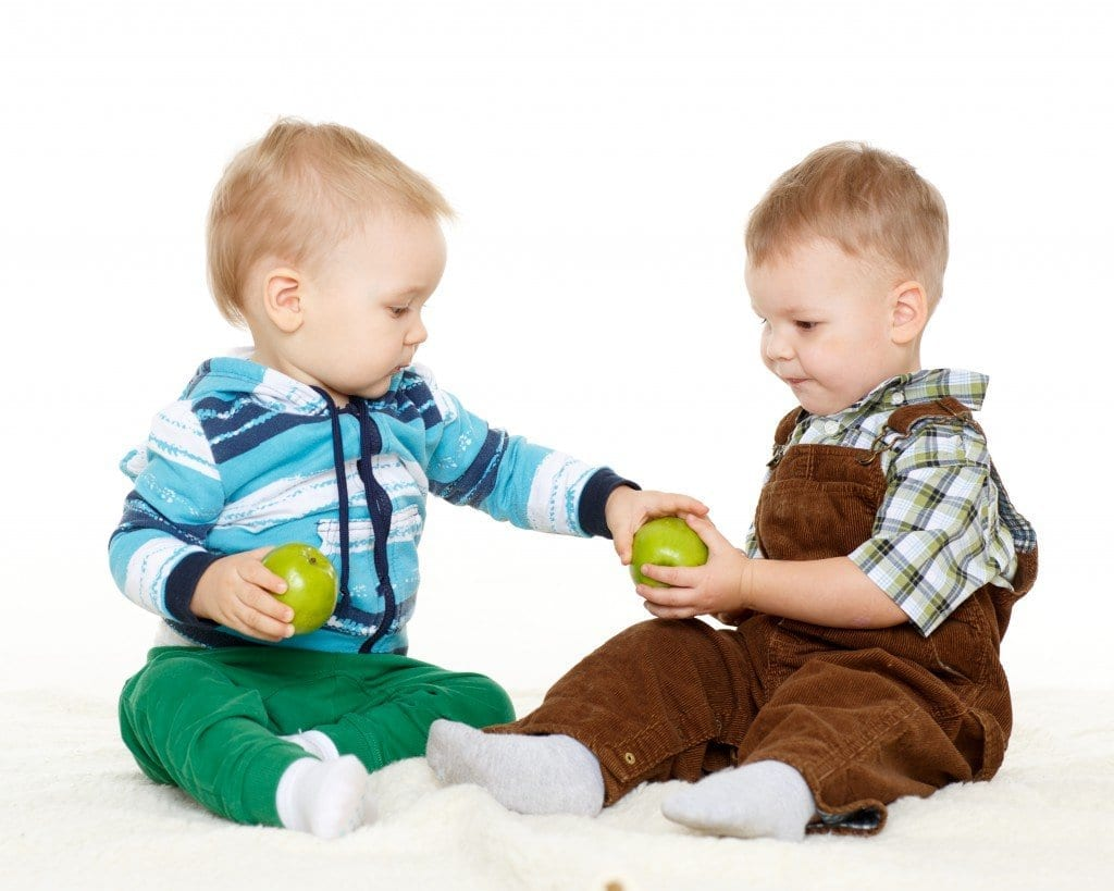 Small Children With Apples.
