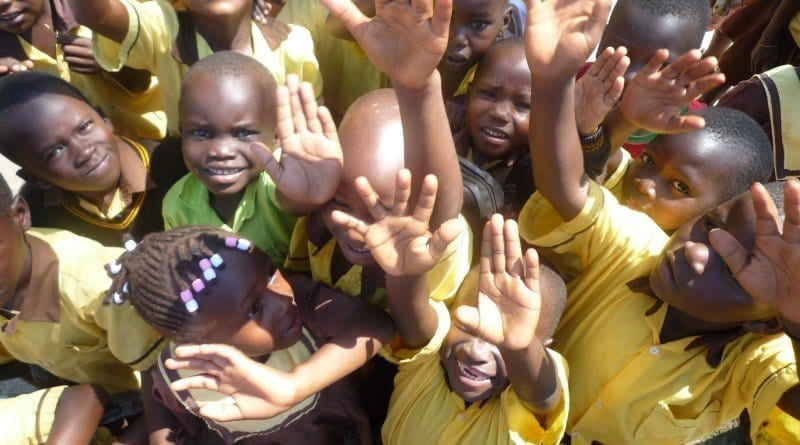 Children with their mosquito nets