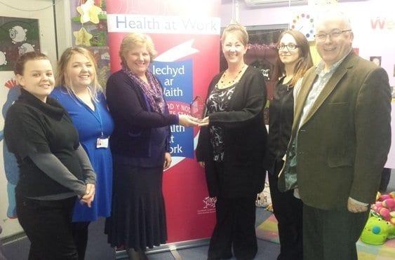 From left to right: Stephanie Selwood (Nursery Staff), Nikki Davies, Wendy Bowler (Public Health Wales), Rachel Jennings (Nursery Manager), Naomi Davies (Nursery Staff) and John Griffiths (Public Health Wales)