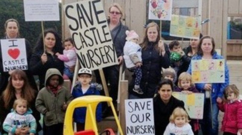 Parents enrol children for threatened nursery during protest March