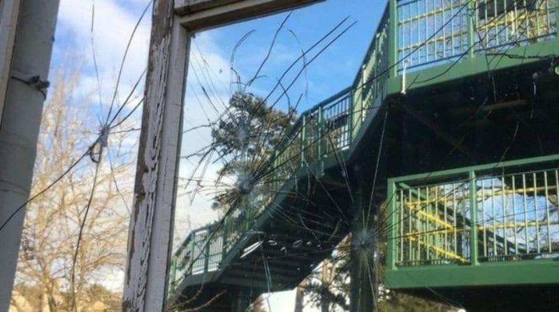 Nursery vandalised from footbridge