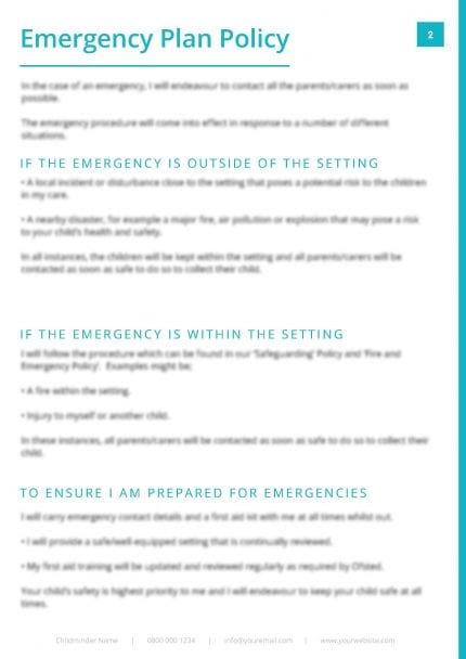 Emergency Plan Procedure