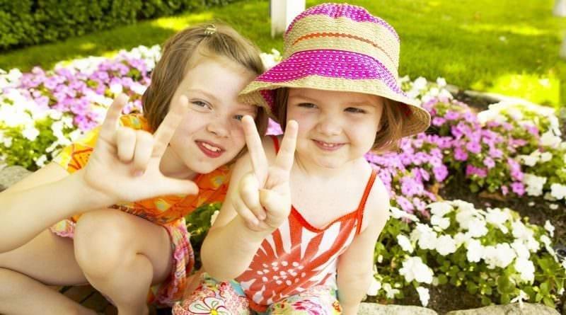 Children in a sunny garden