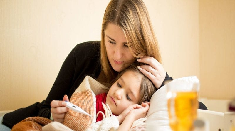 young mother checking temperature of sick daughter lying in bed