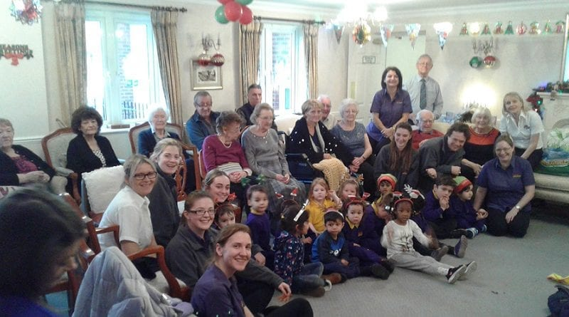 Children from Bright Little Stars, Watford, brighten up the day at Clements Court Retirement Home