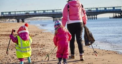 children picking up litter on beach