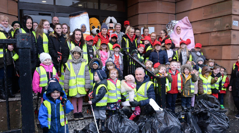 Nursery children are cleaning up across Glasgow