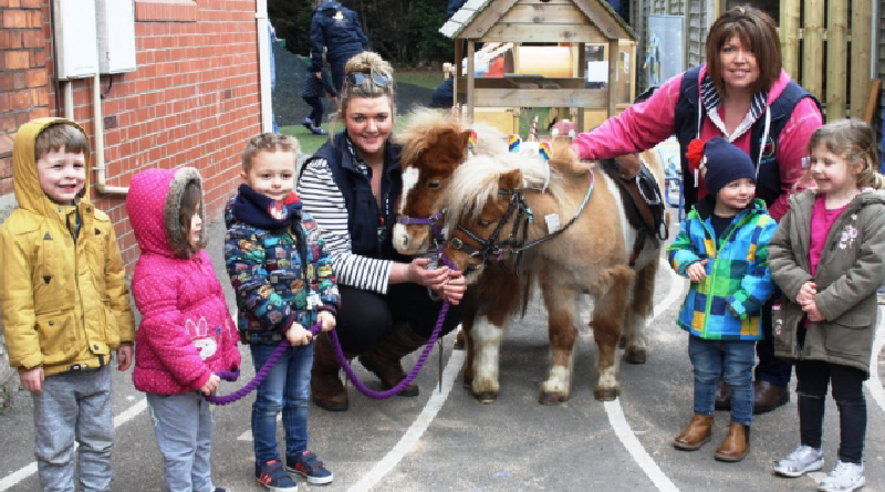 Nursery children visited by Shetland ponies