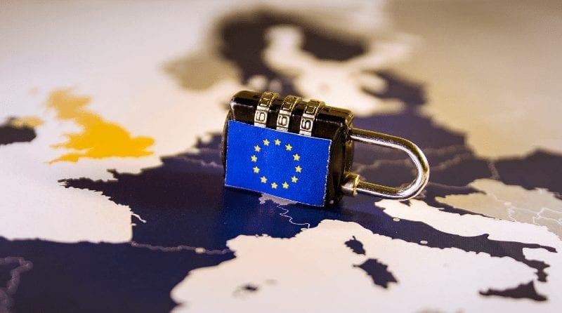 Padlock with European flag on it