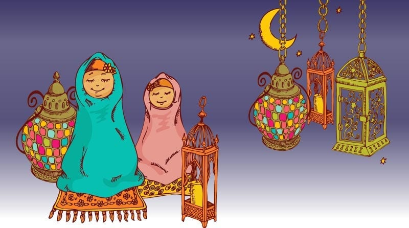 Ramadan. Lanterns and people dressed up in colourful scarf. Vector image