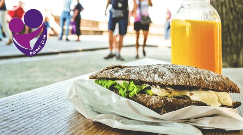 Healthy sandwich with a juice. Blurred background