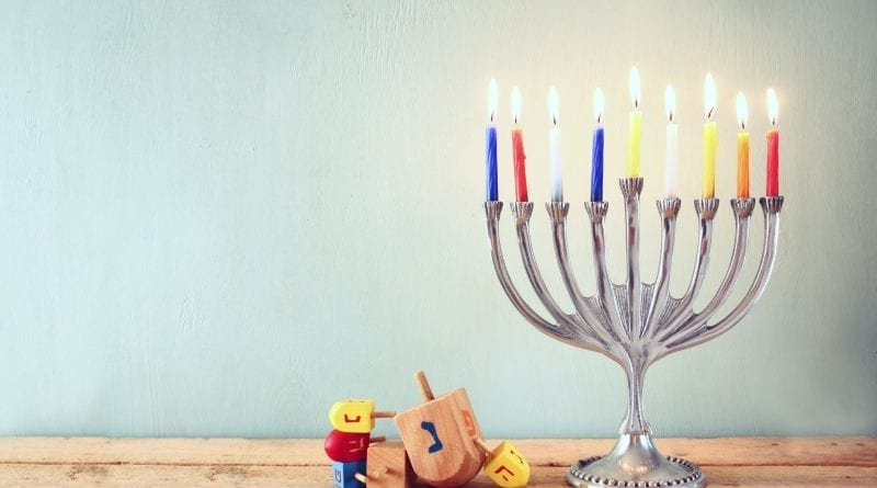 Hanukkah candelabra and wooden toys