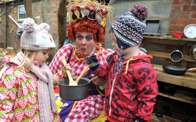 Panto dame opens an outdoor pre-school