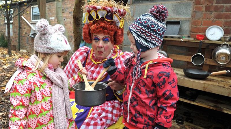 Panto dame opens an outdoor pre-school