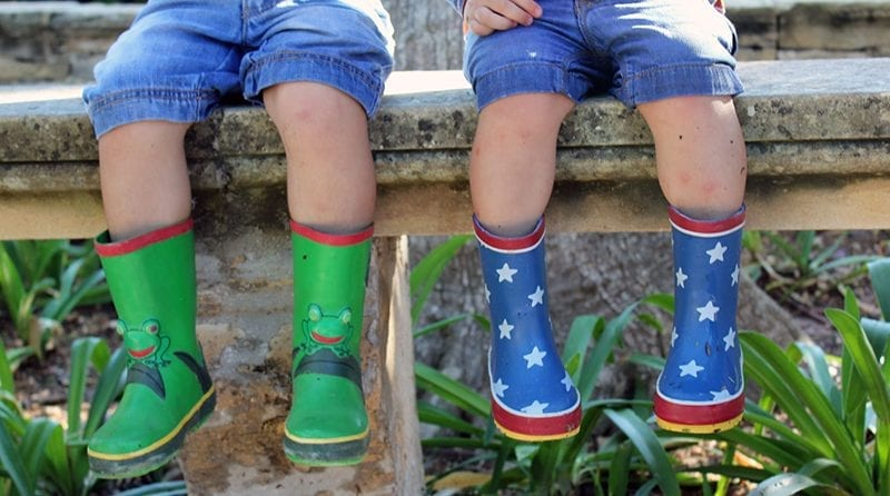 Two children in wellies are sitting outside. Only legs are visible