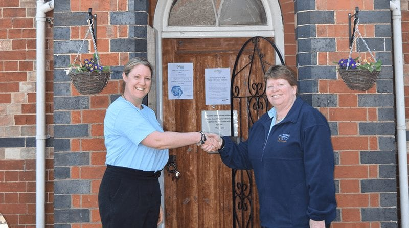 Outgoing Owner & Nursery Practitioner Emma Acors and Bright KIds Group Owner Tricia Wellings, shaking hands