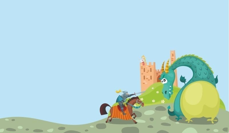 animated knight fighting a dragon with a castle and a princess in a background