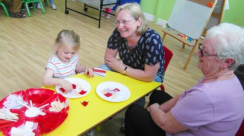 grandparents to celebrate St. George's Day, Nursery setting, little girl making St George's Day craft with grandparents