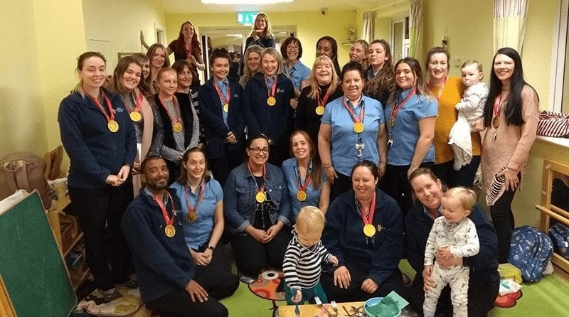 Staff at Little Adventurers Nursery in Havering gather for a group photo with their awards after the staff awards to recognise their efforts in celebration of the Nursery's 4th Birthday