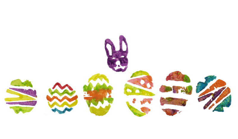 Easter-themed potato stamps