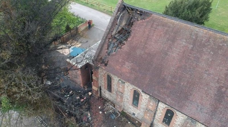 Fundraising campaign set up to restore Farnham nursery, Fire in a church building. Bird view.