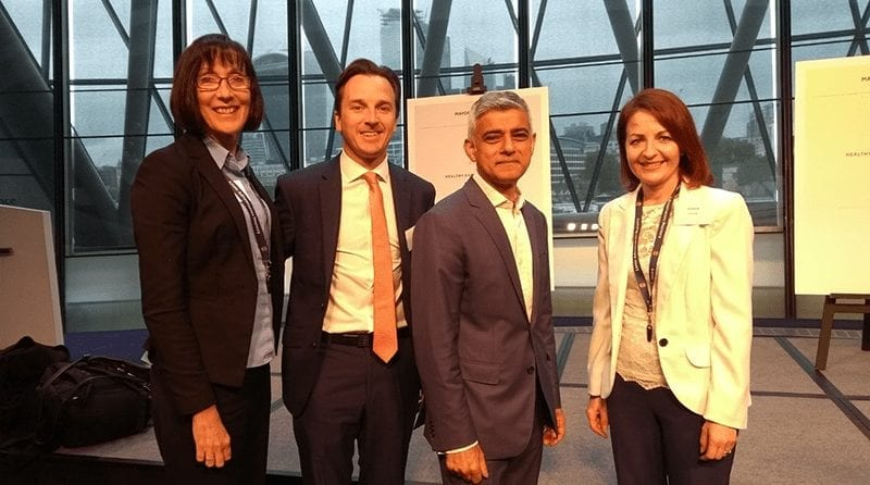 Nursey Manager Ginny Andreas with London Mayor, Sadiq Khan and Deputy Mayor of London, Joanne McCartney at City Hall for The Healthy Early Years London Celebration Event
