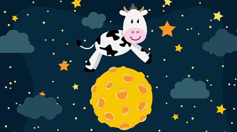 Illustration of cow jumping over the moon