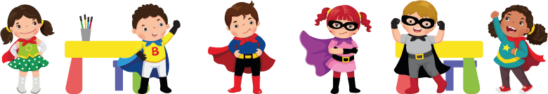 Illustrations of little children in superhero costumes