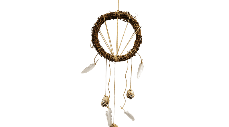 Pine cone and feather dream catcher craft