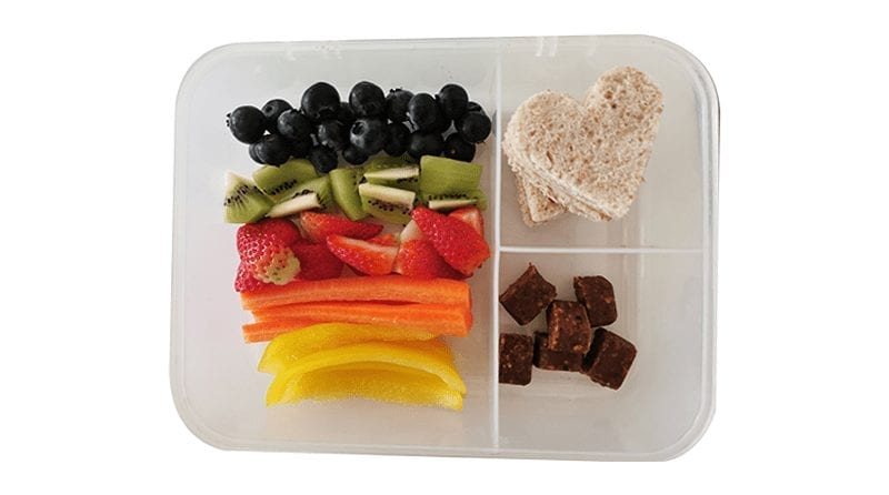 Rainbow packed lunch idea image, parenta